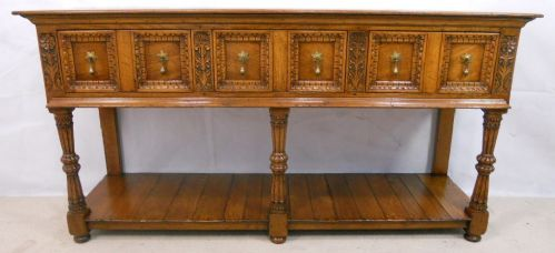 Antique Tudor Style, Light Oak Carved Dresser Base